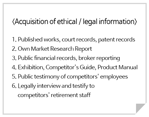 <Acquisition of ethical / legal information>