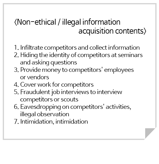 <Non-ethical / illegal information acquisition contents>